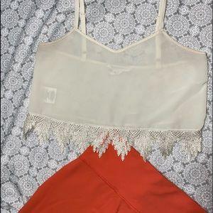 BCBG Ivory Lace Detail Crop Top XS